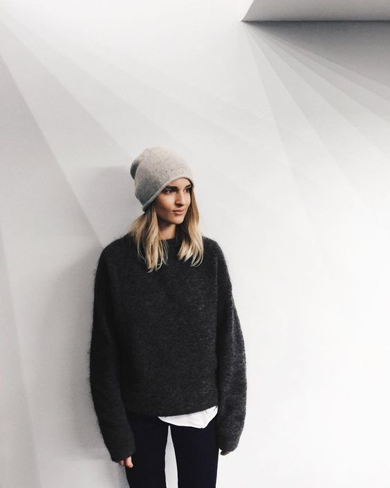 a light grey sleek beanie for a simple modern outfit