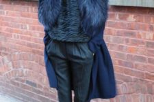 13 a navy coat with a lush faux fur stole looks outstanding