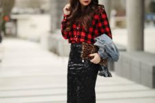a plaid red and black shirt with a black sequin skirt are a perfect holiday combo