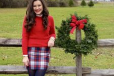 14 a red sweater, a white shirt, a plaid mini, black tights and black boots