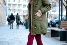 14 an olive green parka, fuchsia jeans and amber chelsa boots