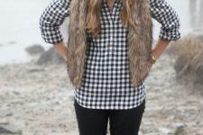 14 black jeans, a plaid shirt, a faux fur vest, a white beanie and grey boots