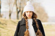 14 loose braids always look chic under a beanie