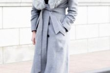 15 a grey winter coat with faux fur and red spiked Valentino shoes to look adorable