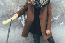 15 a simple brown coat and matching suede booties for a chic and stylish look
