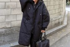 15 an oversized black puffer coat is a great idea for those who love trends but wants to adapt them for themselves