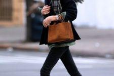 15 black denim, a short black coat, black chelsea boots and a plaid scarf