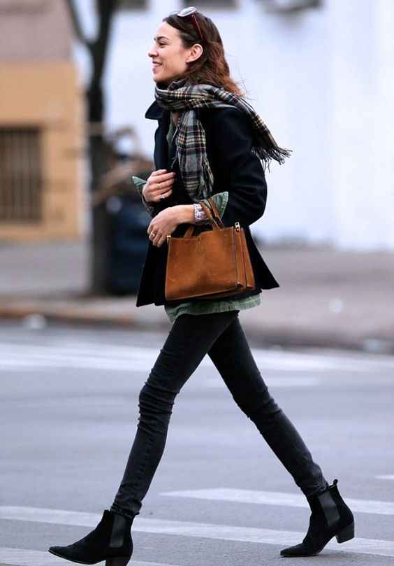 black denim, a short black coat, black chelsea boots and a plaid scarf