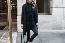 15 black leggings, a plaid shirt, a black long cardigan and sneakers