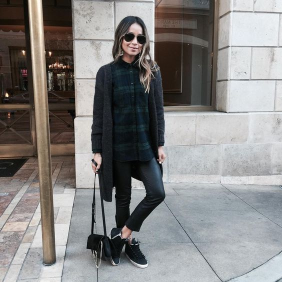 black leggings, a plaid shirt, a black long cardigan and sneakers