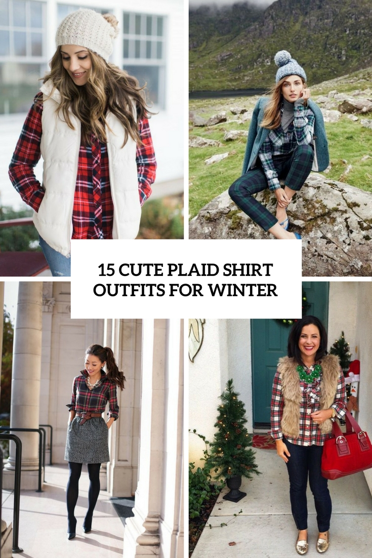 cute plaid shirt outfits for winter cover