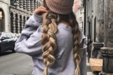15 two large braids will look very cute with any kind of a beanie and you can sweep them back