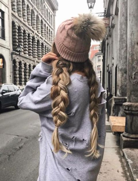 two large braids will look very cute with any kind of a beanie and you can sweep them back