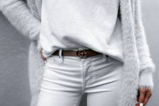 15 white jeans, a white top, a fuzzy angora cardigan for a pure white look