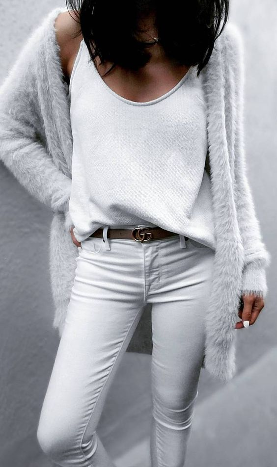 white jeans, a white top, a fuzzy angora cardigan for a pure white look