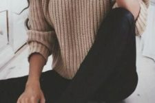 16 a beige chunky knit sweater, black jeans and black lace up shoes