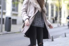 16 a light pink coat with a grey faux fur stole for a girlish feel