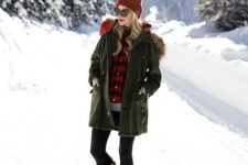 stylish winter outfit with a parka