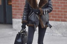16 black skinnies, a black shearling coat, a plaid scarf, black chelsea boots