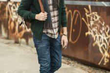 16 blue jeans, a plaid shirt, an emerald cardigan, a scarf, an emerald beanie and brown boots