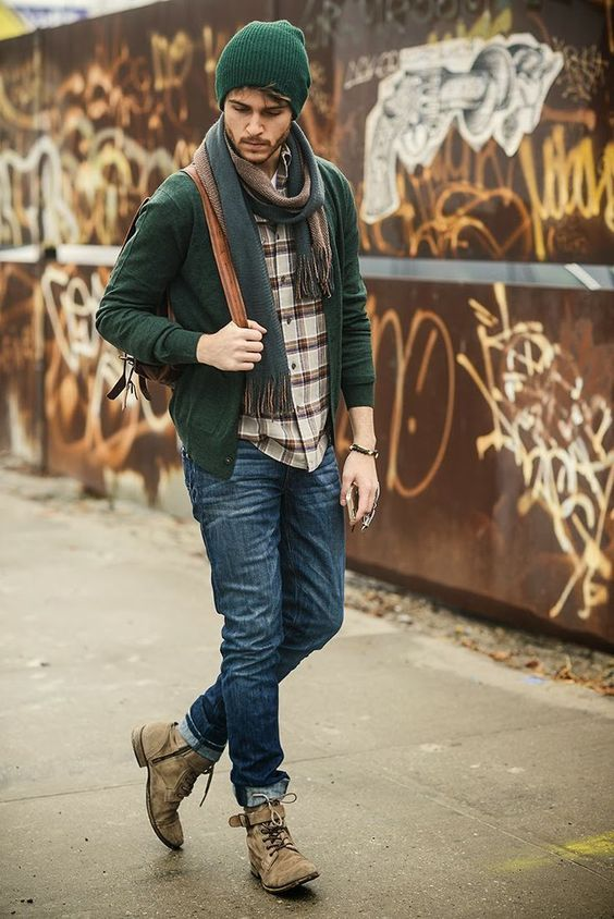 blue jeans, a plaid shirt, an emerald cardigan, a scarf, an emerald beanie and brown boots