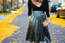 16 metallic shoes, an emerald sequin midi skirt, a black turtleneck and a plaid scarf