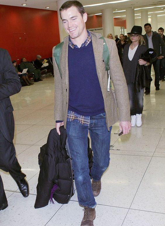 navy denim, a navy sweater and a plaid shirt, a tweed jacket and brown shoes