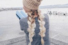 16 two voluminous braids with a neutral beanie is a great idea to show off your hair and feel comfy