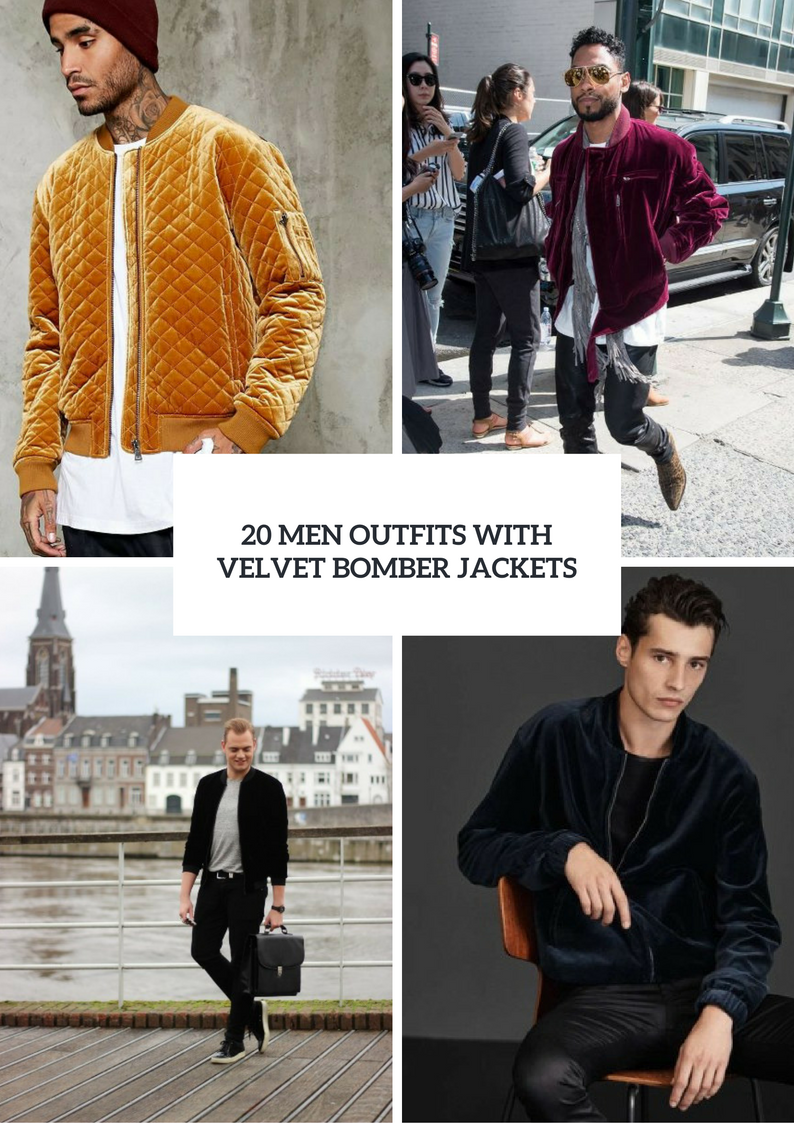 Men Outfits With Velvet Bomber Jackets