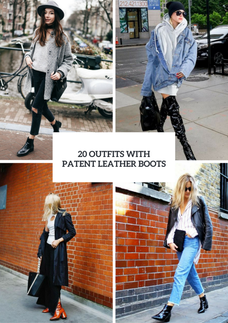 Women Outfit Ideas With Patent Leather Boots