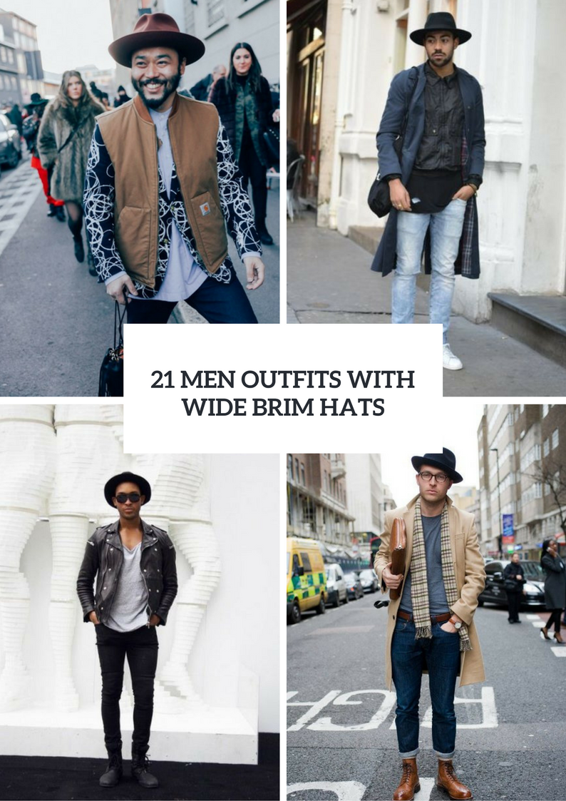 Fall Men Outfits With Wide Brim Hats
