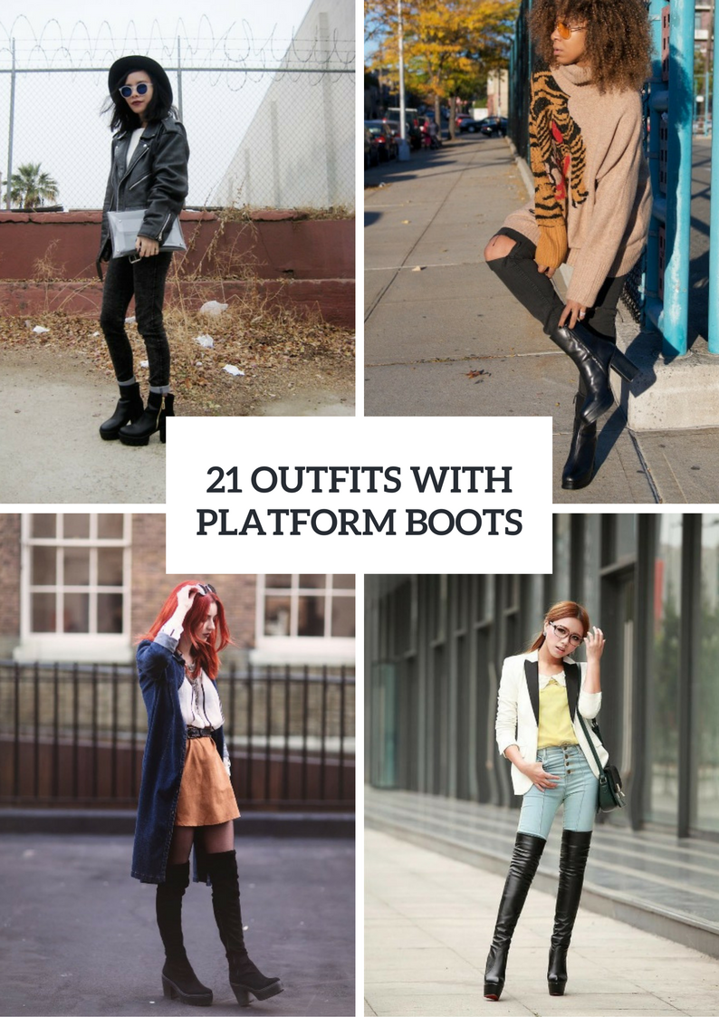 Women Outfits With Platform Boots For Fall And Winter