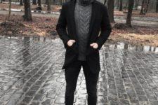 Black blazer, black pants, dark gray sweater and black boots