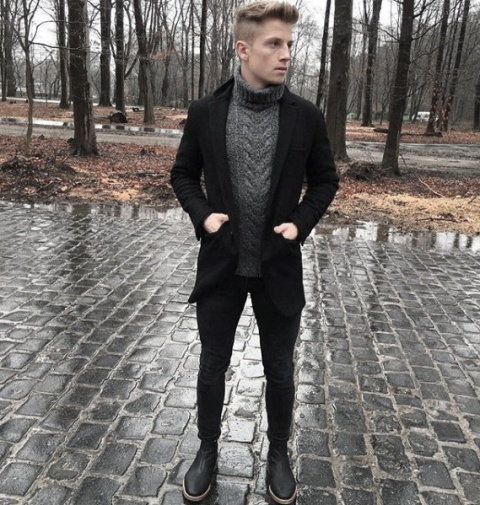 Picture Of Black blazer black pants dark gray sweater and black boots