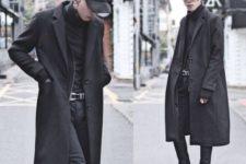 Black cap, shirt, midi coat, pants and boots