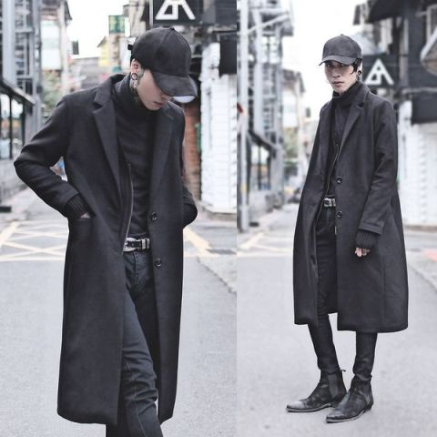 Black cap, shirt, midi coat, pants and boots