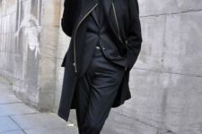 Black coat, blazer, trousers and shoes