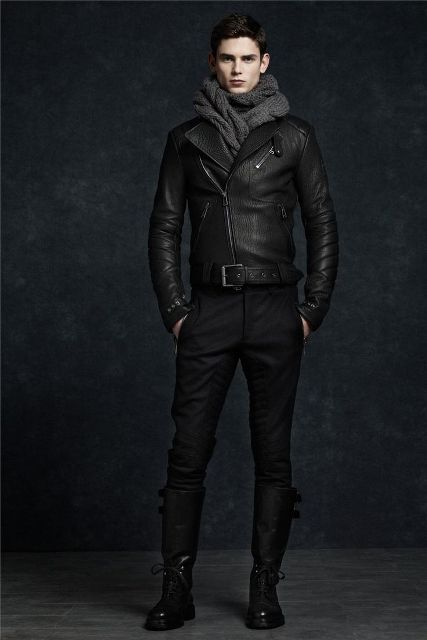 Black leather jacket, straight pants, high leather boots and dark gray scarf