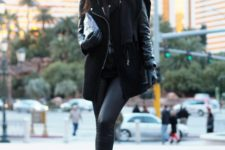 Black leather pants with ankle boots, mini coat and clutch