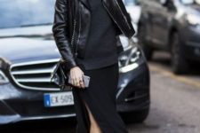 Black shirt, maxi skirt, leather jacket, mini bag and leather boots