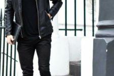 Black turtleneck, leather jacket, clutch, skinny pants and shoes