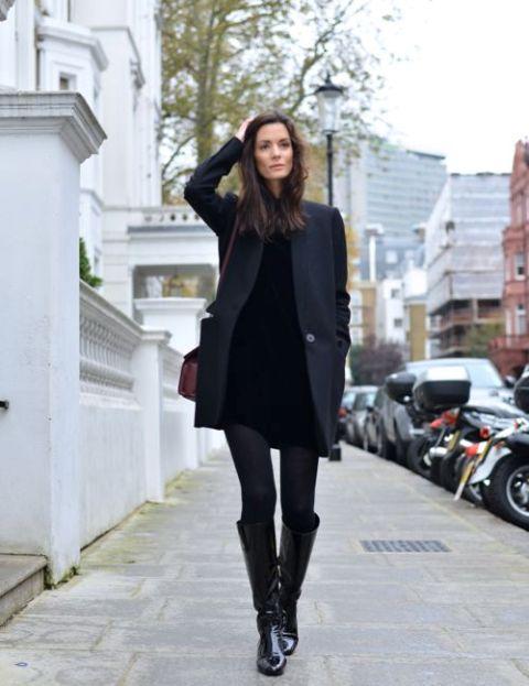 Black velvet dress, straight coat, high boots and marsala bag