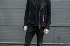 Casual outfit with black t-shirt, suede jacket, pants and mid calf boots