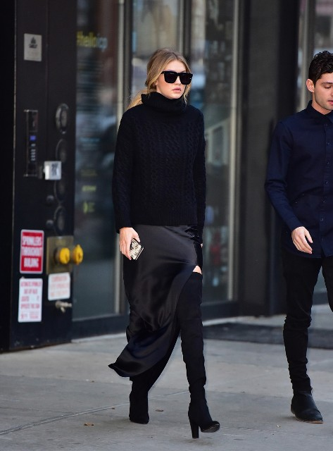 Combination of turtleneck, maxi skirt and over the knee boots