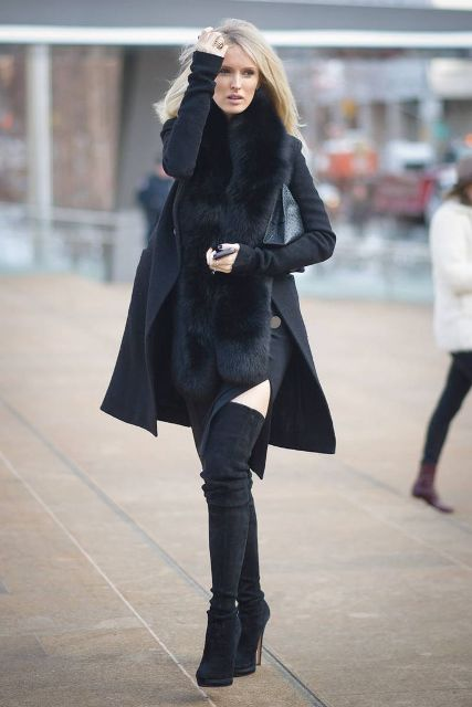 Dress with mini coat with fur and over the knee boots