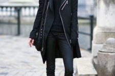 Jeans with black coat, shirt, mid calf boots and bag