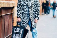 With animal printed coat, platform boots and tote