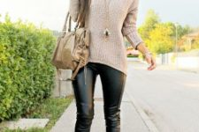 With beige sweater, lace up boots and beige bag
