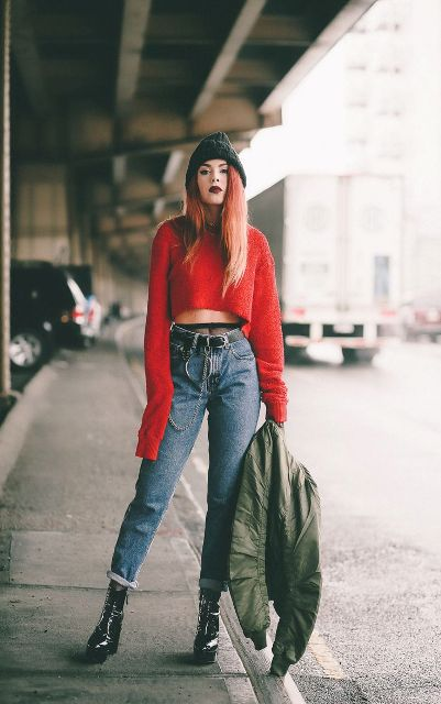 With black beanie, red crop sweater and platform boots