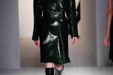 With black leather coat